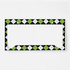 Green White Argyle License Plate Holder