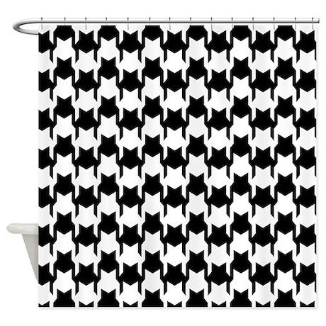 Black Houndstooth Shower Curtain
