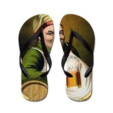 Vintage Lager Beer Advertisement Flip Flops
