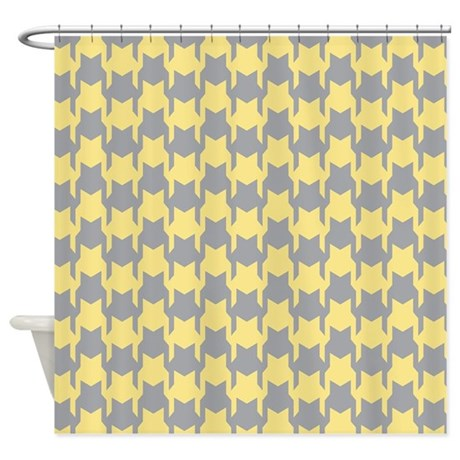 Yellow Gray Houndstooth Shower Curtain