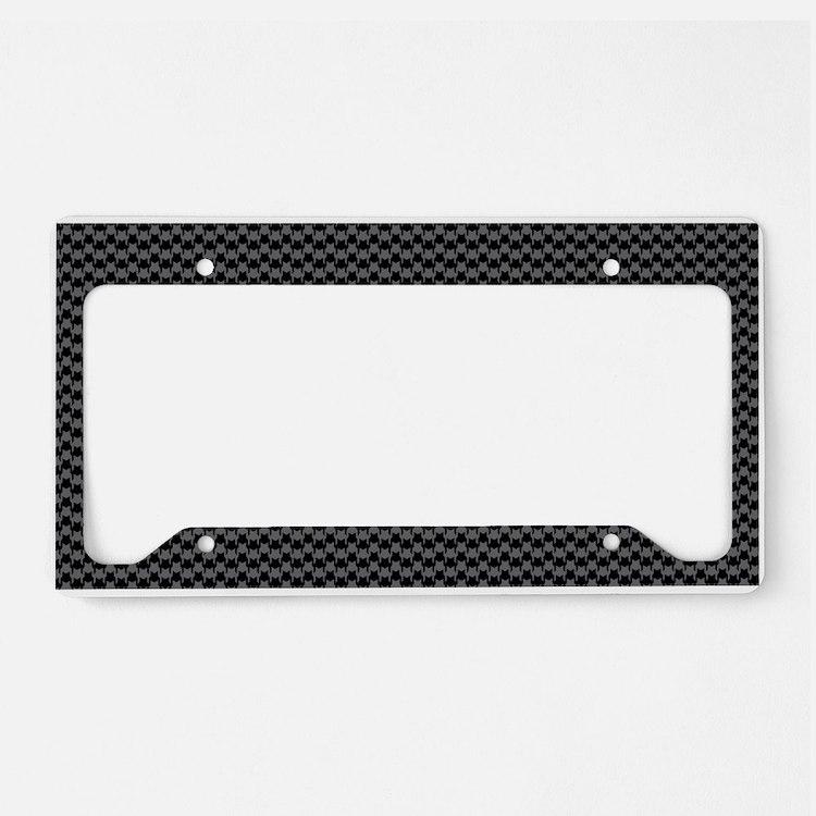 Black Gray Houndstooth License Plate Holder