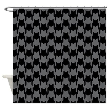 Black Gray Houndstooth Shower Curtain