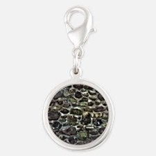 Stone Wall Silver Round Charm