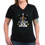 LeConte Family Crest  Women's V-Neck Dark T-Shirt