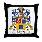 Lattre Family Crest Throw Pillow