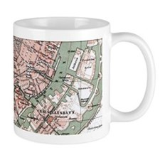 Vintage Map of Copenhagen Denmark (1888) Mugs