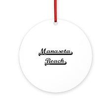Manasota Beach Classic Retro Desi Ornament (Round)