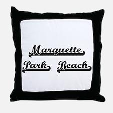 Marquette Park Beach Classic Retro De Throw Pillow