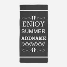 Gray and White Enjoy Summer Personaliz Beach Towel