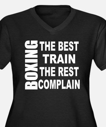 BOXING THE B Women's Plus Size V-Neck Dark T-Shirt