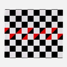 Black and white checkers with red tr Throw Blanket