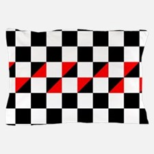 Black and white checkers with red tria Pillow Case
