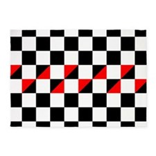 Black and white checkers with red t 5'x7'Area Rug