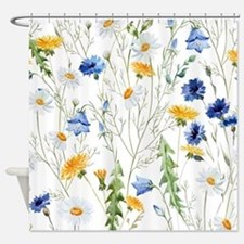 Cute Blue Shower Curtain