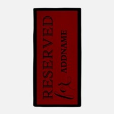 Black and Red Reserved Personalized Beach Towel