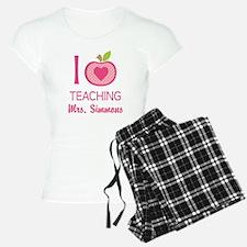 I Love Teaching personalized apple Pajamas