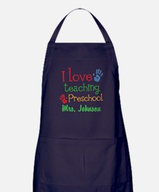 I Love Teaching Preschool Apron (dark)