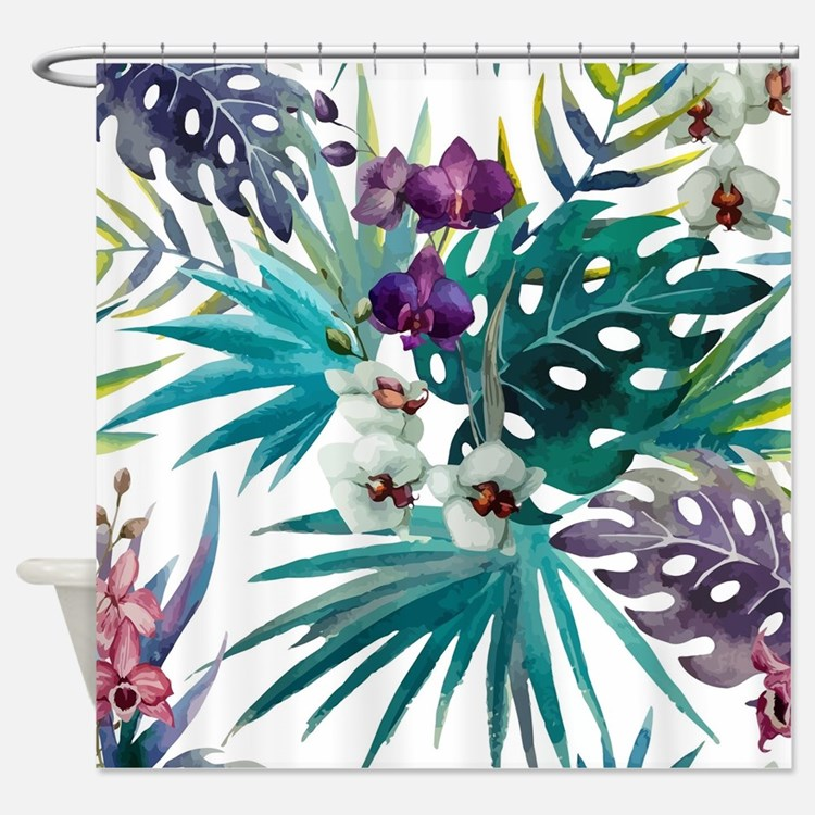 Cute Tropical flowers Shower Curtain