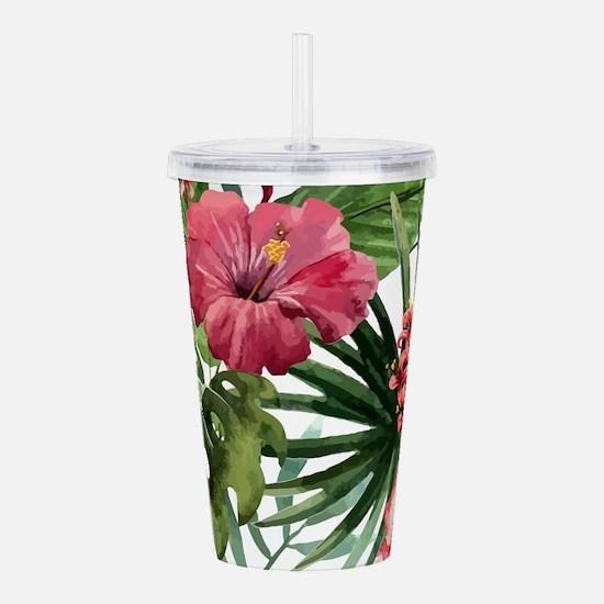 Funny Hawaiian flowers Acrylic Double-wall Tumbler