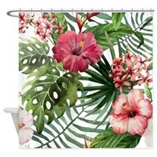 Cool Tropical watercolor Shower Curtain