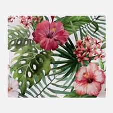 Cute Hawaiian flowers Throw Blanket