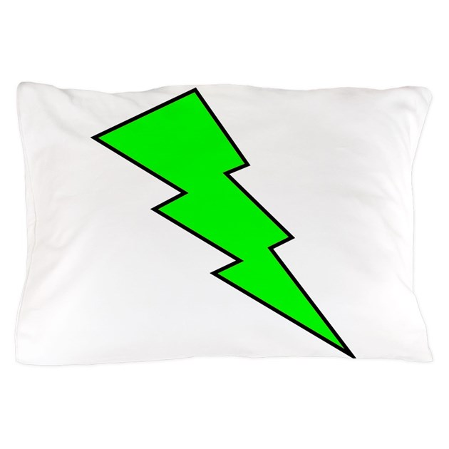 Neon Green Lightning Bolt Pillow Case By GraphicArtOnly