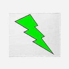 Neon Green Lightning Bolt Throw Blanket