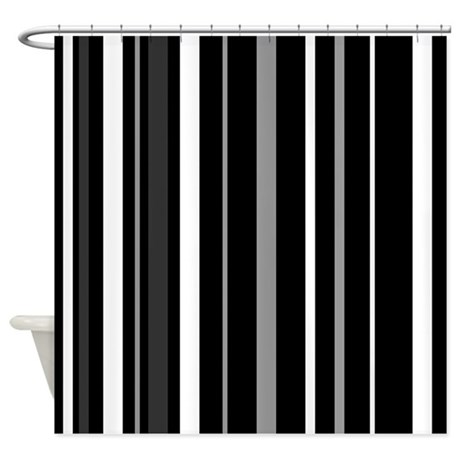 Black Grey And White Stripes Shower Curtain By Admin