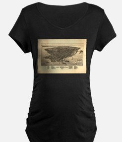 Vintage Pictorial Map of Key Wes Maternity T-Shirt