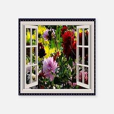 """Flower Garden Window Square Sticker 3"""" x 3"""""""