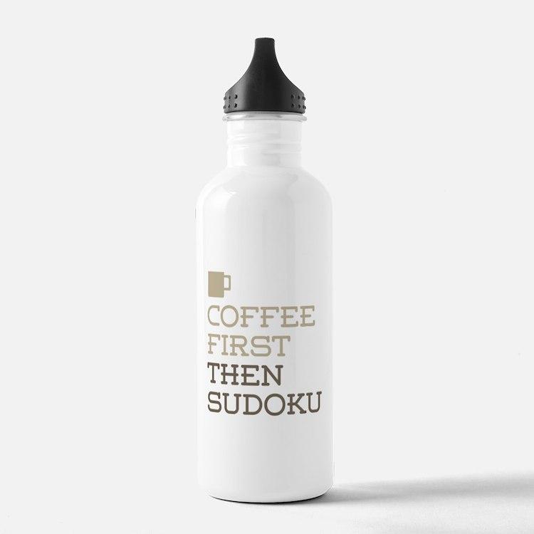 Coffee Then Sudoku Water Bottle