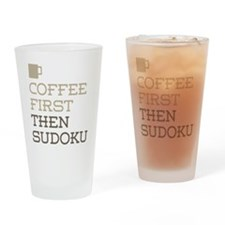 Coffee Then Sudoku Drinking Glass