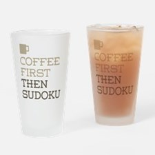 Coffee Then Sudoku Drinking Glass