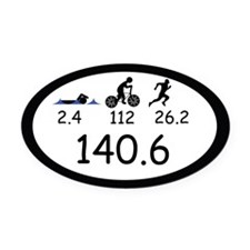 Ironman Triathlon Oval Car Magnet