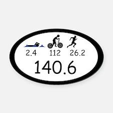 Ironman Triathlon Oval Car Magnet