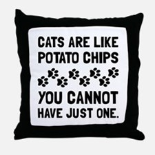 Cats Like Potato Chips Throw Pillow