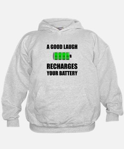 Laugh Recharges Battery Hoodie