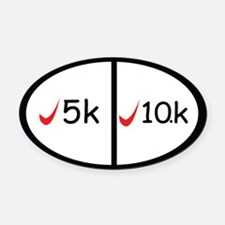 5k and 10k completed Oval Car Magnet