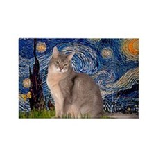 Starry / Blue Abyssinian cat Rectangle Magnet