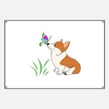 Corgi with butterfly Banner