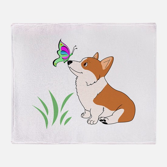 Corgi with butterfly Throw Blanket