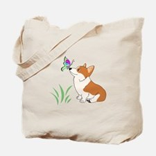 Corgi with butterfly Tote Bag