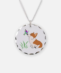 Corgi with butterfly Necklace