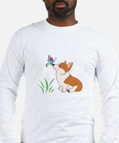 Corgi with butterfly Long Sleeve T-Shirt
