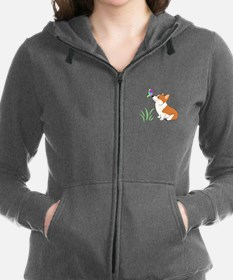 Corgi with butterfly Women's Zip Hoodie
