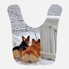 Two Corgis in winter snow Bib