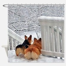 Two Corgis in winter snow Shower Curtain