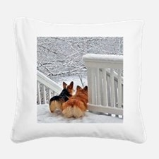 Two Corgis in winter snow Square Canvas Pillow
