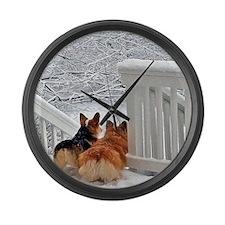 Two Corgis in winter snow Large Wall Clock