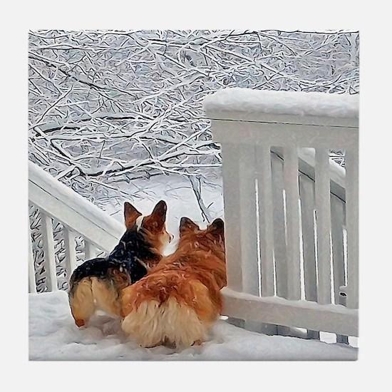 Two Corgis in winter snow Tile Coaster